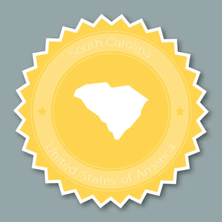 South Carolina badge flat design. Round flat style sticker of trendy colors with the state map and name. US state badge vector illustration.
