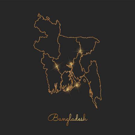 Bangladesh region map: golden glitter outline with sparkling stars on dark background. Detailed map of Bangladesh regions. Vector illustration.