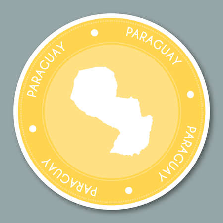 para: Republic of Paraguay label flat sticker design. Patriotic country map round label. Country sticker vector illustration.