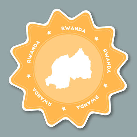 Rwanda map sticker in trendy colors. Star shaped travel sticker with country name and map. Can be used as logo, badge, label, tag, sign, stamp or emblem. Travel badge vector illustration. Illustration