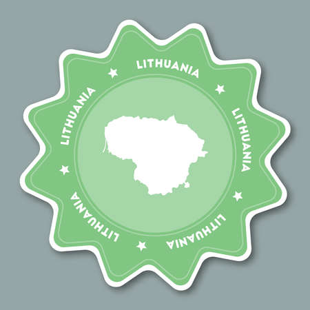 Lithuania map sticker in trendy colors. Star shaped travel sticker with country name and map. Can be used as logo, badge, label, tag, sign, stamp or emblem. Travel badge vector illustration.