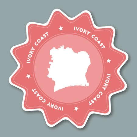 Côte d'Ivoire carte autocollant dans des couleurs à la mode. Autocollant de voyage en forme d'étoile avec le nom du pays et la carte. Peut être utilisé comme logo, badge, étiquette, étiquette, signe, timbre ou emblème. Illustration vectorielle de voyage insigne. Banque d'images - 84276796