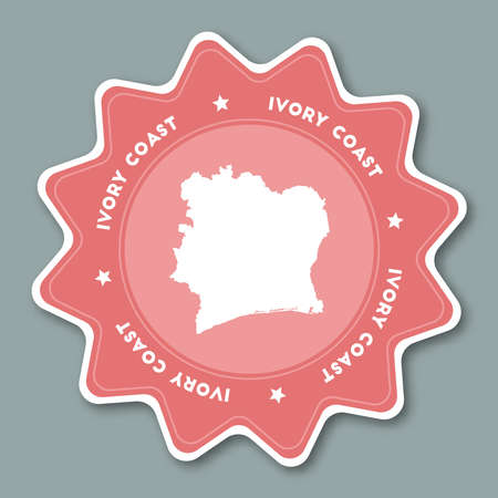 Cote DIvoire map sticker in trendy colors. Star shaped travel sticker with country name and map. Can be used as logo, badge, label, tag, sign, stamp or emblem. Travel badge vector illustration. Ilustração