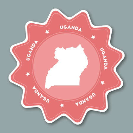 Uganda map sticker in trendy colors. Star shaped travel sticker with country name and map. Can be used as logo, badge, label, tag, sign, stamp or emblem. Travel badge vector illustration. Illustration