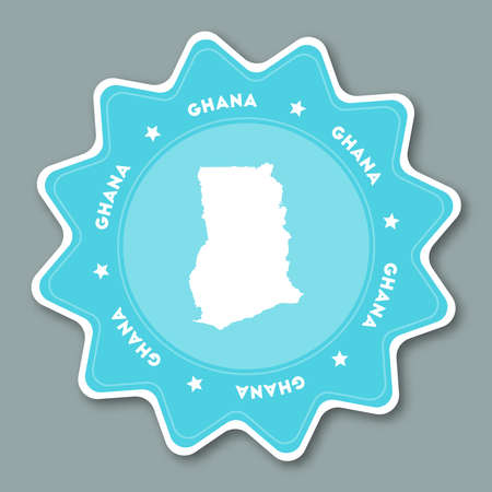 Ghana map sticker in trendy colors. Star shaped travel sticker with country name and map. Can be used as logo, badge, label, tag, sign, stamp or emblem. Travel badge vector illustration. Illustration