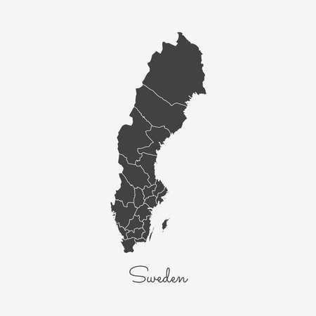 Het gebied van Zweden kaart: grijs overzicht op witte achtergrond. Gedetailleerde kaart van de regio's van Zweden. Vector illustratie. Stockfoto - 84276806