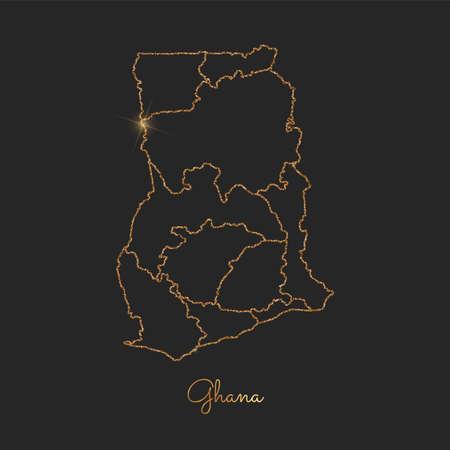 Ghana region map: golden glitter outline with sparkling stars on dark background. Detailed map of Ghana regions. Vector illustration. Illustration