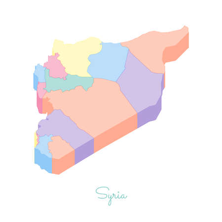 Syria region map: colorful isometric top view. Detailed map of Syria regions. Vector illustration.