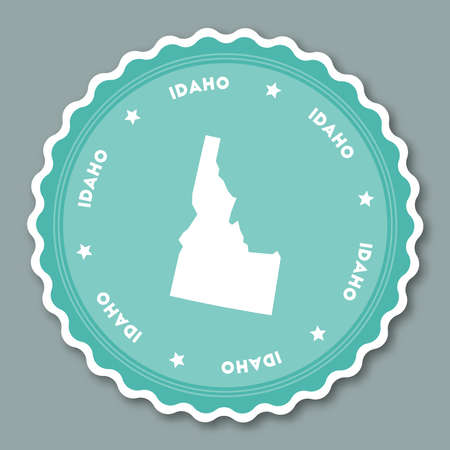 Idaho sticker flat design. Round flat style badges of trendy colors with the state map and name. US state sticker vector illustration. Illustration