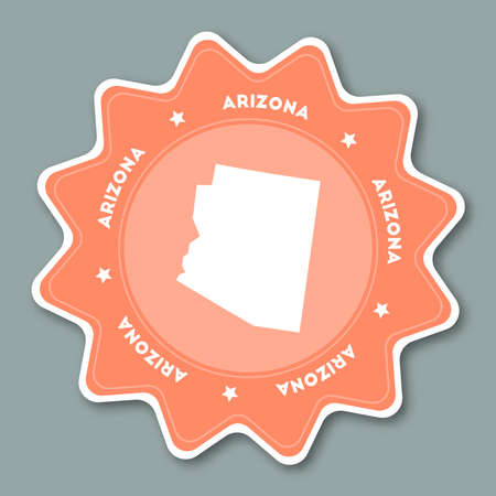 Arizona map sticker in trendy colors. Travel sticker with US state name and map. Can be used as logo, badge, label, tag, sign, stamp or emblem. Travel badge vector illustration.