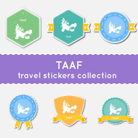 antarctic: French Southern Territories travel stickers collection. Big set of stickers with country map and name. Flat material style badges vector illustration.