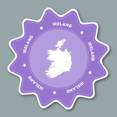 Ireland map sticker in trendy colors. Star shaped travel sticker with country name and map. Can be used as logo, badge, label, tag, sign, stamp or emblem. Travel badge vector illustration.