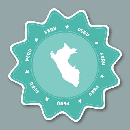Peru map sticker in trendy colors. Star shaped travel sticker with country name and map. Can be used as logo, badge, label, tag, sign, stamp or emblem. Travel badge vector illustration. Vectores