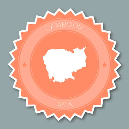Cambodia badge flat design. Round flat style sticker of trendy colors with country map and name. Country badge vector illustration. Illustration