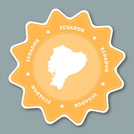 Ecuador map sticker in trendy colors. Star shaped travel sticker with country name and map. Can be used as logo, badge, label, tag, sign, stamp or emblem. Travel badge vector illustration. Illustration