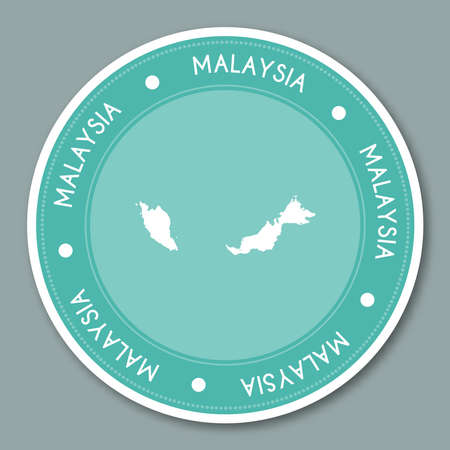 simplification: Malaysia label flat sticker design. Patriotic country map round lable. Country sticker vector illustration.