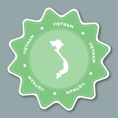 Vietnam map sticker in trendy colors. Star shaped travel sticker with country name and map. Can be used as logo, badge, label, tag, sign, stamp or emblem. Travel badge vector illustration. Illustration