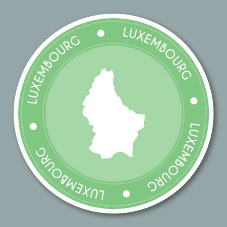 Luxembourg label flat sticker design. Patriotic country map round lable. Country sticker vector illustration.