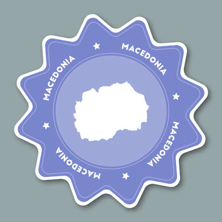 Macedonia, the Former Yugoslav Republic Of map sticker in trendy colors. Star shaped travel sticker with country name and map. Can be used as logo, badge, label, tag, sign, stamp or emblem.