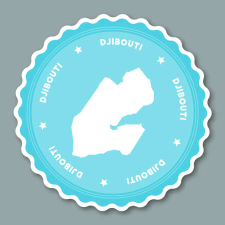 Djibouti sticker flat design. Round flat style badges of trendy colors with country map and name. Country sticker vector illustration. Illustration