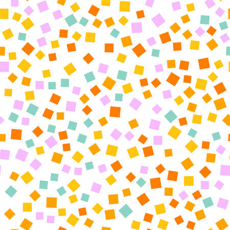 Abstract squares pattern. White geometric background. Wonderful random squares. Geometric chaotic decor. Vector illustration. Illusztráció