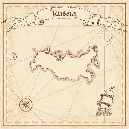 Carte au Trésor ancienne Fédération de Russie. Sépia gravé modèle de carte de pirate. Carte de pirate stylisée sur papier vintage. Banque d'images - 84277223