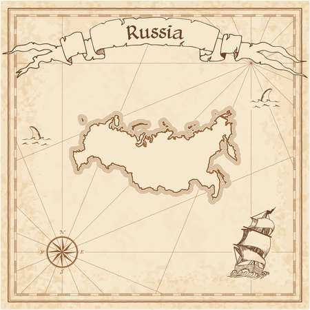 Russian Federation old treasure map. Sepia engraved template of pirate map. Stylized pirate map on vintage paper. Çizim
