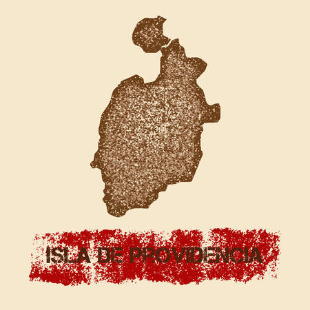 Isla de Providencia distressed map. Grunge patriotic poster with textured island ink stamp and roller paint mark, vector illustration. Illustration