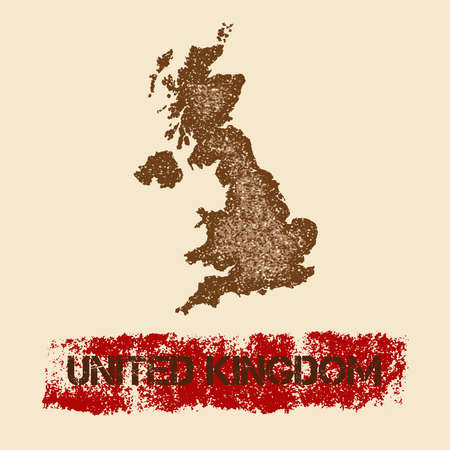 United Kingdom distressed map. Grunge patriotic poster with textured country ink stamp and roller paint mark, vector illustration. Illustration