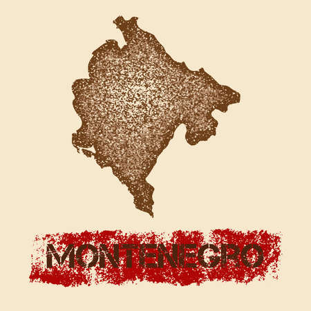 Montenegro distressed map. Grunge patriotic poster with textured country ink stamp and roller paint mark, vector illustration.