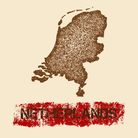 map of netherlands: Netherlands distressed map. Grunge patriotic poster with textured country ink stamp and roller paint mark, vector illustration. Illustration