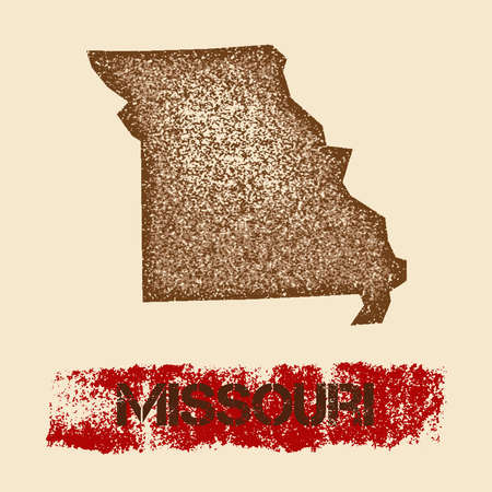 Missouri distressed map. Grunge patriotic poster with textured state ink stamp and roller paint mark, vector illustration.