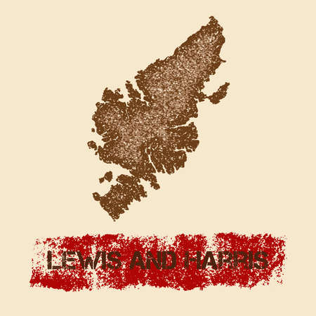 Lewis and Harris distressed map. Grunge patriotic poster with textured island ink stamp and roller paint mark, vector illustration. Illustration