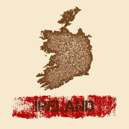 Ireland distressed map. Grunge patriotic poster with textured country ink stamp and roller paint mark, vector illustration. Illustration