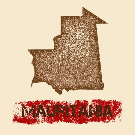 Mauritania distressed map. Grunge patriotic poster with textured country ink stamp and roller paint mark, vector illustration.