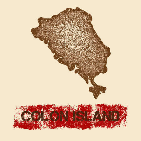 Colon Island distressed map. Grunge patriotic poster with textured island ink stamp and roller paint mark, vector illustration.