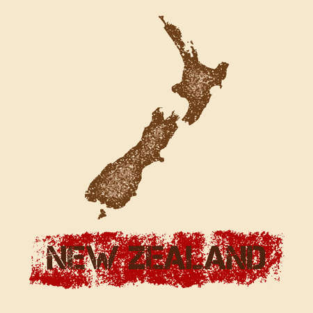 New Zealand distressed map. Grunge patriotic poster with textured country ink stamp and roller paint mark, vector illustration.