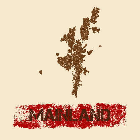 mainland: Mainland distressed map. Grunge patriotic poster with textured island ink stamp and roller paint mark, vector illustration. Illustration