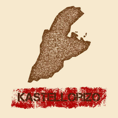 Kastellorizo distressed map. Grunge patriotic poster with textured island ink stamp and roller paint mark.
