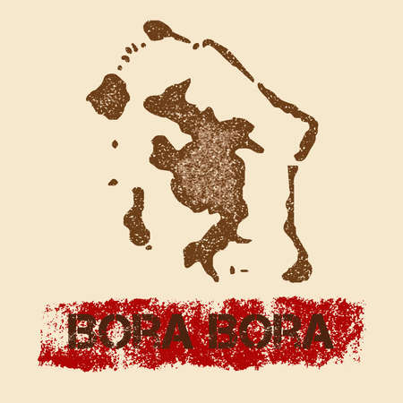 Bora Bora distressed map. Grunge patriotic poster with textured island ink stamp and roller paint mark, vector illustration. Illustration