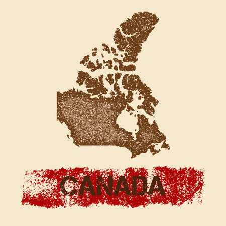 Canada distressed map. Grunge patriotic poster with textured country ink stamp and roller paint mark. Illustration