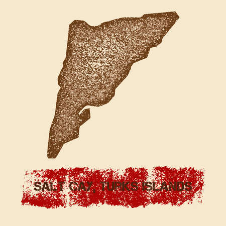 Salt Cay, Turks Islands distressed map. Grunge patriotic poster with textured island ink stamp and roller paint mark.