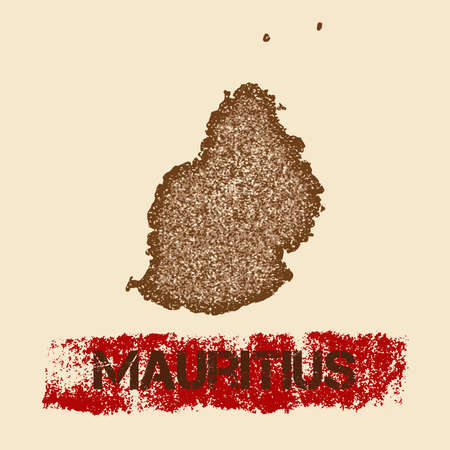 Mauritius distressed map. Grunge patriotic poster with textured island ink stamp and roller paint mark.