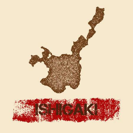 石垣苦しめられた地図。グランジ テクスチャ島インク スタンプとローラー ペイント マークと愛国的なポスター。