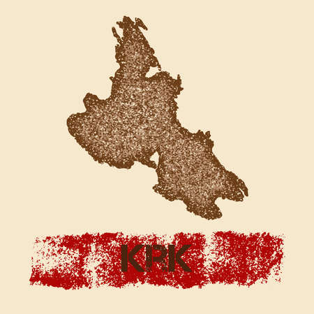Krk distressed map. Grunge patriotic poster with textured island ink stamp and roller paint mark, vector illustration.