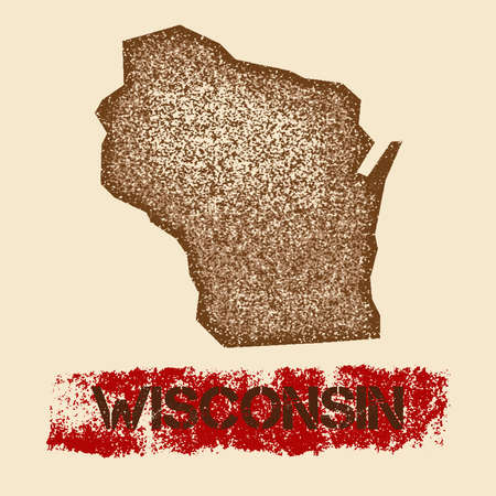 Wisconsin distressed map. Grunge patriotic poster with textured state ink stamp and roller paint mark, vector illustration.