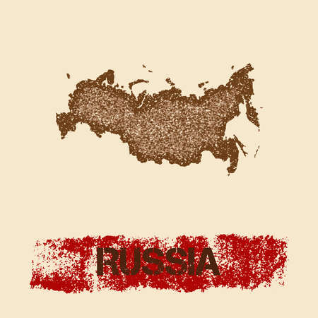 Russia distressed map. Grunge patriotic poster with textured country ink stamp and roller paint mark, vector illustration. Çizim