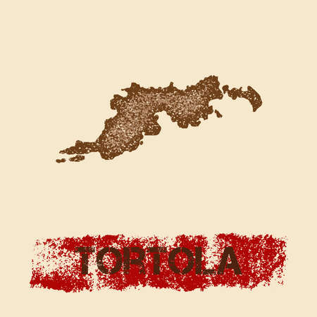 Tortola distressed map. Grunge patriotic poster with textured island ink stamp and roller paint mark, vector illustration.