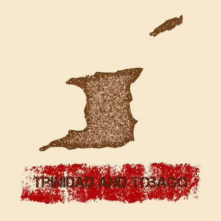 Trinidad and Tobago distressed map. Grunge patriotic poster with textured country ink stamp and roller paint mark, vector illustration.