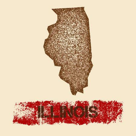 Illinois distressed map. Grunge patriotic poster with textured state ink stamp and roller paint mark, vector illustration. Illustration